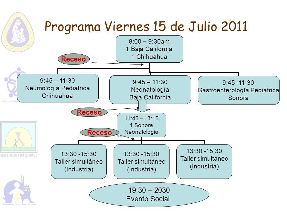 Programa Viernes 15 de Julio 2011 8:00 – 9:30am 1 Baja California 1 Chihuahua 9:45 – 11:30 Neumología Pediátrica Chihuahua 9:45 – 11:30 Neonatología B
