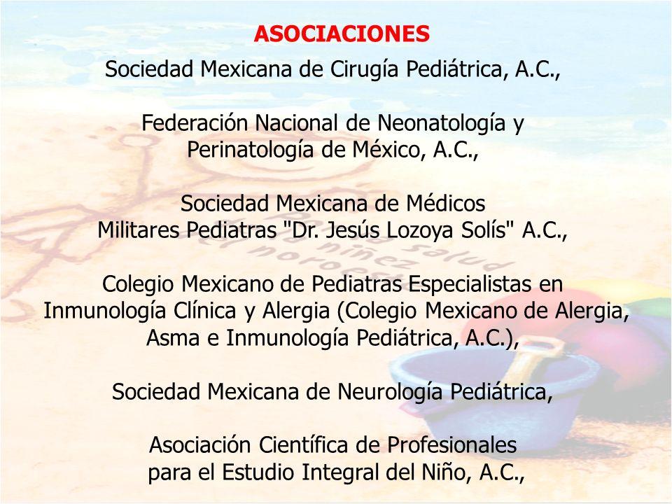 Sociedad Mexicana de Cirugía Pediátrica, A.C., Federación Nacional de Neonatología y Perinatología de México, A.C., Sociedad Mexicana de Médicos Milit