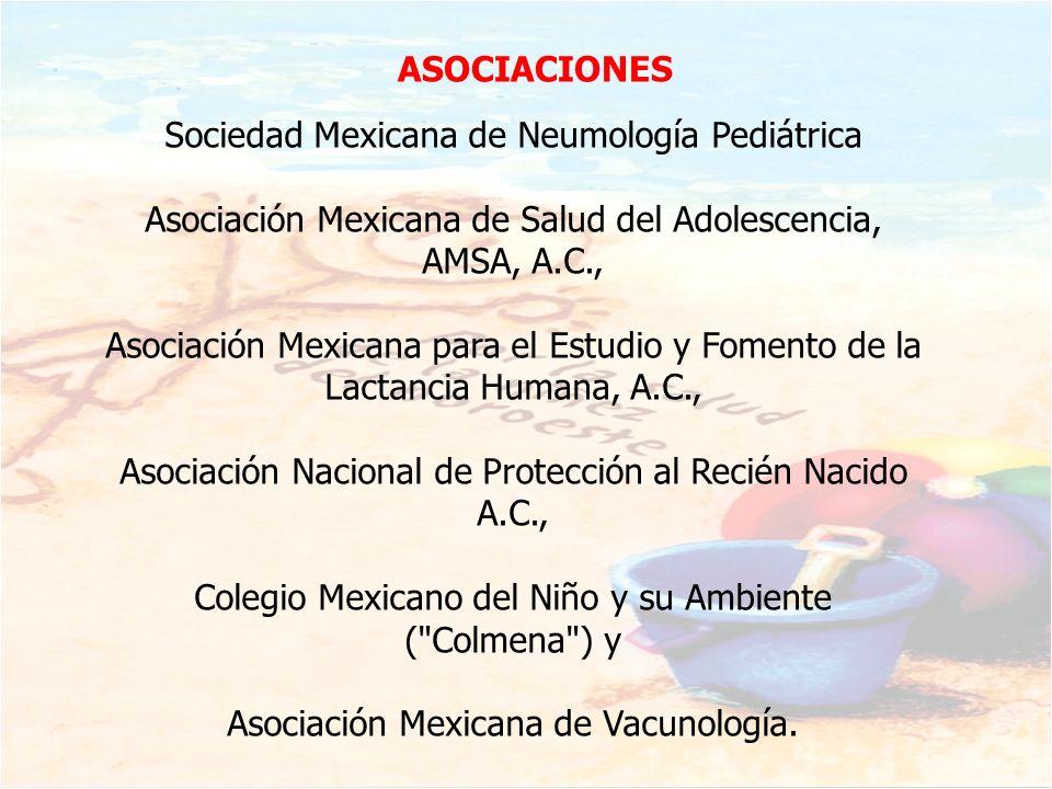 Sociedad Mexicana de Neumología Pediátrica Asociación Mexicana de Salud del Adolescencia, AMSA, A.C., Asociación Mexicana para el Estudio y Fomento de