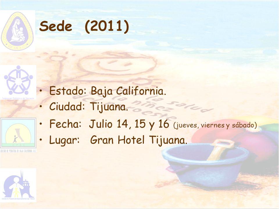 Sede (2011) Estado: Baja California. Ciudad: Tijuana. Fecha: Julio 14, 15 y 16 (jueves, viernes y sábado) Lugar: Gran Hotel Tijuana.