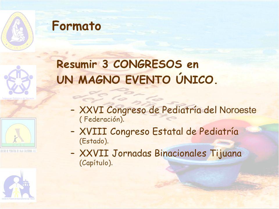 Formato Resumir 3 CONGRESOS en UN MAGNO EVENTO ÚNICO. –XXVI Congreso de Pediatría del Noroeste ( Federación). –XVIII Congreso Estatal de Pediatría (Es