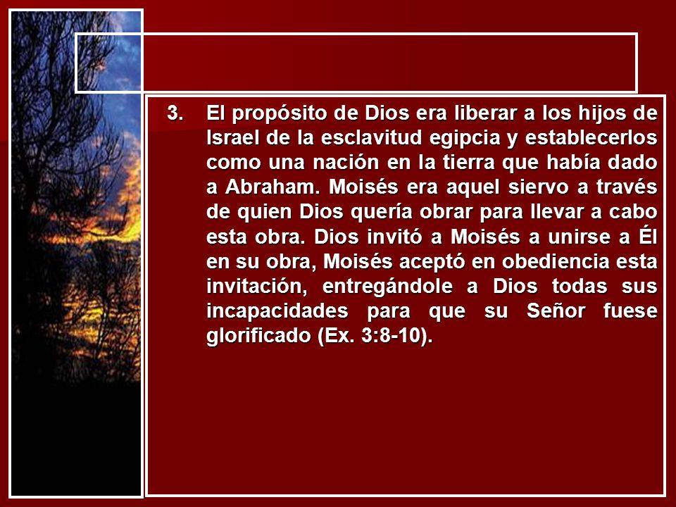 3.El propósito de Dios era liberar a los hijos de Israel de la esclavitud egipcia y establecerlos como una nación en la tierra que había dado a Abraha
