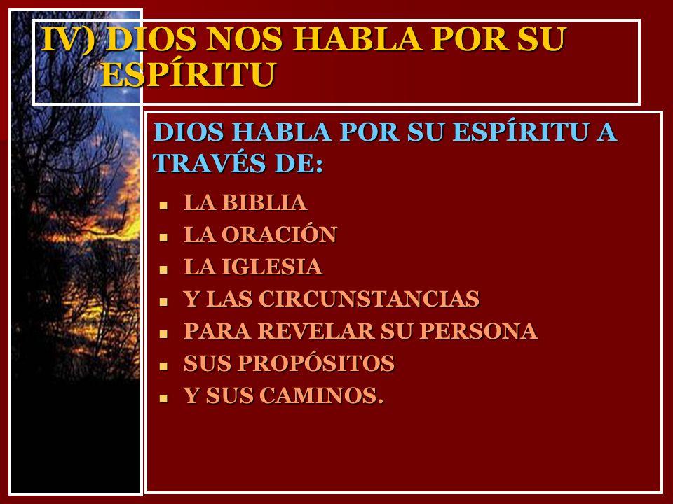 IV) DIOS NOS HABLA POR SU ESPÍRITU DIOS HABLA POR SU ESPÍRITU A TRAVÉS DE: LA BIBLIA LA BIBLIA LA ORACIÓN LA ORACIÓN LA IGLESIA LA IGLESIA Y LAS CIRCU