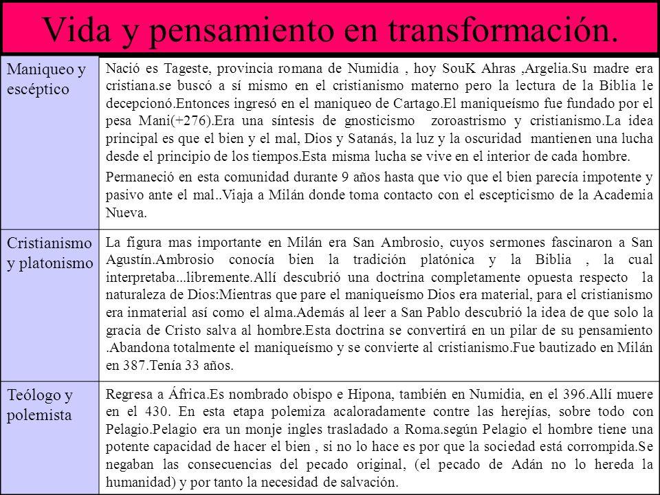 Vida y pensamiento en transformación. Maniqueo y escéptico Nació es Tageste, provincia romana de Numidia, hoy SouK Ahras,Argelia.Su madre era cristian