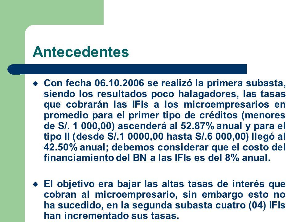 Antecedentes Con fecha 06.10.2006 se realizó la primera subasta, siendo los resultados poco halagadores, las tasas que cobrarán las IFIs a los microempresarios en promedio para el primer tipo de créditos (menores de S/.