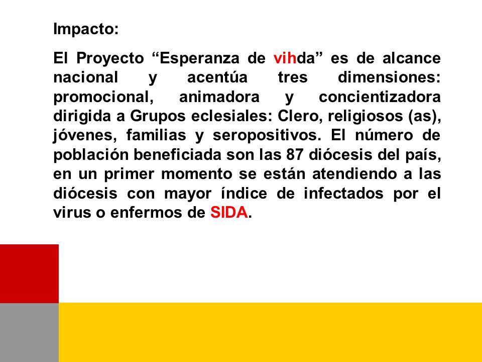 Impacto: El Proyecto Esperanza de vihda es de alcance nacional y acentúa tres dimensiones: promocional, animadora y concientizadora dirigida a Grupos