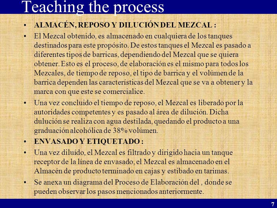 7 Teaching the process ALMACÉN, REPOSO Y DILUCIÓN DEL MEZCAL : El Mezcal obtenido, es almacenado en cualquiera de los tanques destinados para este pro