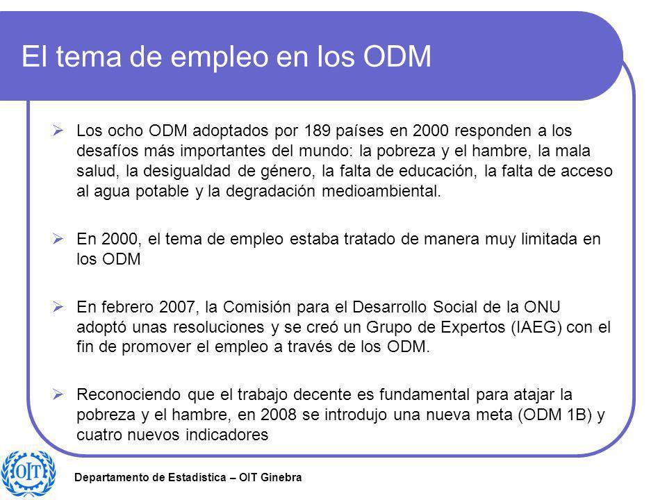 Departamento de Estadística – OIT Ginebra El tema de empleo en los ODM Los ocho ODM adoptados por 189 países en 2000 responden a los desafíos más impo