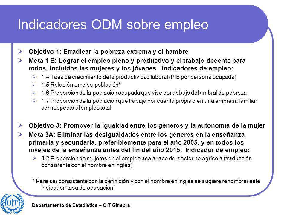 Departamento de Estadística – OIT Ginebra Indicadores ODM sobre empleo Objetivo 1: Erradicar la pobreza extrema y el hambre Meta 1 B: Lograr el empleo
