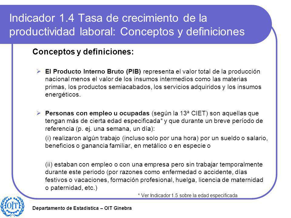 Departamento de Estadística – OIT Ginebra Indicador 1.4 Tasa de crecimiento de la productividad laboral: Conceptos y definiciones Conceptos y definici