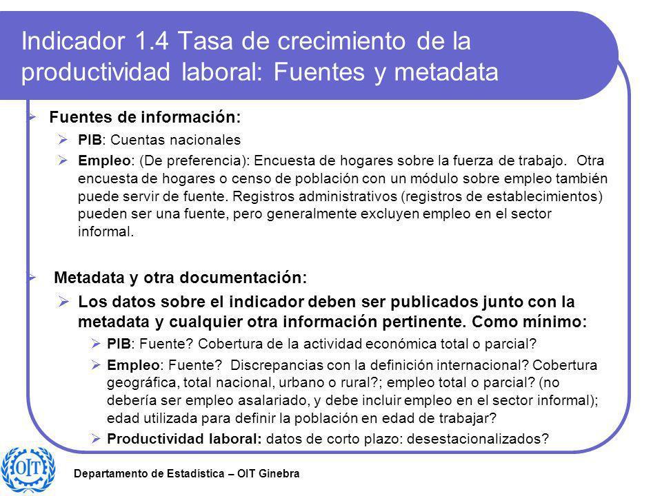 Departamento de Estadística – OIT Ginebra Indicador 1.4 Tasa de crecimiento de la productividad laboral: Fuentes y metadata Fuentes de información: PI