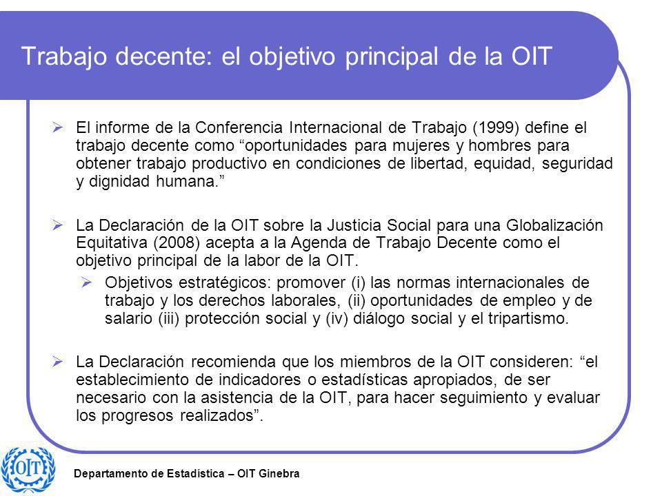 Departamento de Estadística – OIT Ginebra Trabajo decente: el objetivo principal de la OIT El informe de la Conferencia Internacional de Trabajo (1999