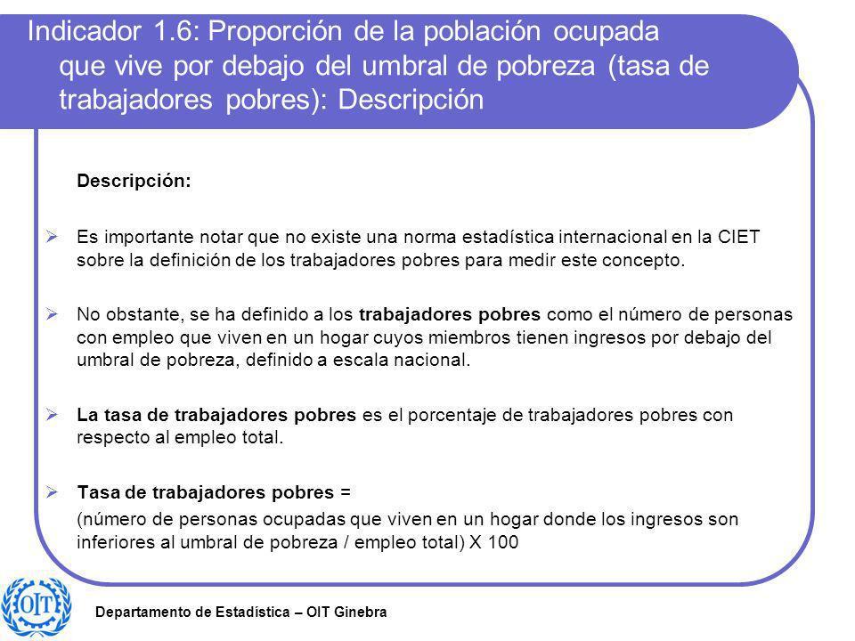 Departamento de Estadística – OIT Ginebra Indicador 1.6: Proporción de la población ocupada que vive por debajo del umbral de pobreza (tasa de trabaja