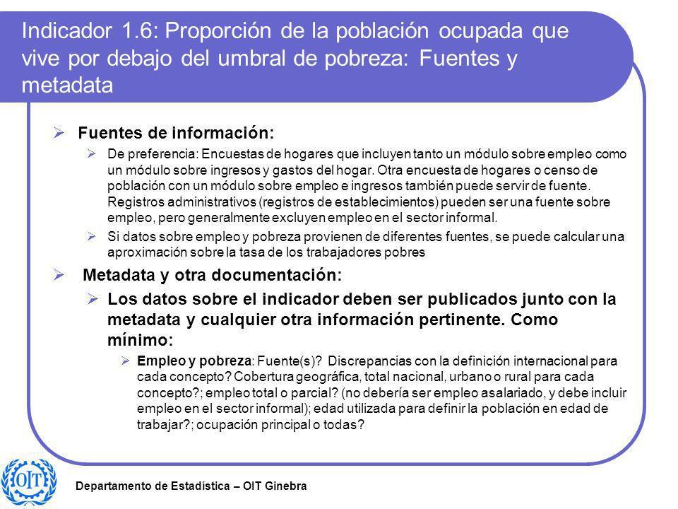 Departamento de Estadística – OIT Ginebra Indicador 1.6: Proporción de la población ocupada que vive por debajo del umbral de pobreza: Fuentes y metad