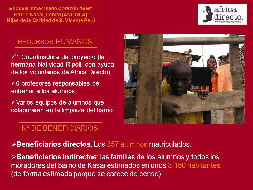 Escuela Inmaculado Corazón de Mª Barrio Kasai, Lobito (ANGOLA) Hijas de la Caridad de S. Vicente Paul Beneficiarios directos: Los 857 alumnos matricul