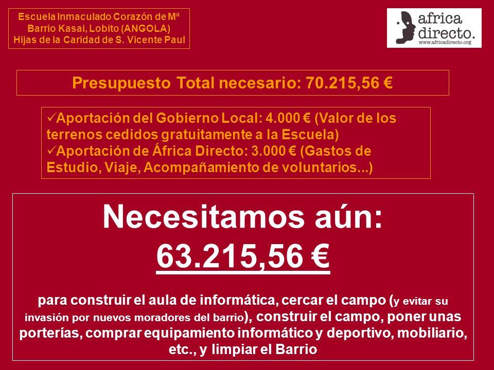 Escuela Inmaculado Corazón de Mª Barrio Kasai, Lobito (ANGOLA) Hijas de la Caridad de S. Vicente Paul Presupuesto Total necesario: 70.215,56 Aportació