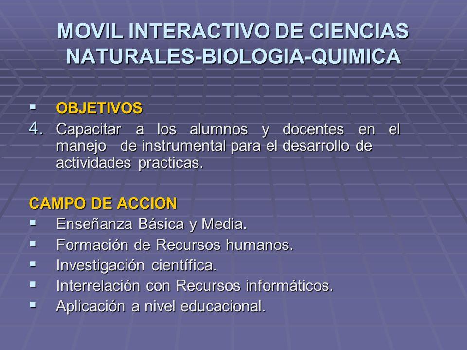 MOVIL INTERACTIVO DE CIENCIAS NATURALES-BIOLOGIA-QUIMICA OBJETIVOS OBJETIVOS 4. Capacitar a los alumnos y docentes en el manejo de instrumental para e