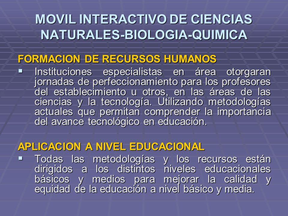 MOVIL INTERACTIVO DE CIENCIAS NATURALES-BIOLOGIA-QUIMICA FORMACION DE RECURSOS HUMANOS Instituciones especialistas en área otorgaran jornadas de perfe