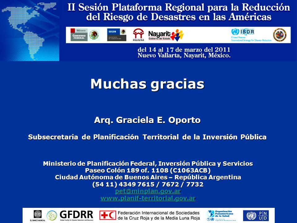 Muchas gracias Arq. Graciela E. Oporto Subsecretaria de Planificación Territorial de la Inversión Pública Ministerio de Planificación Federal, Inversi