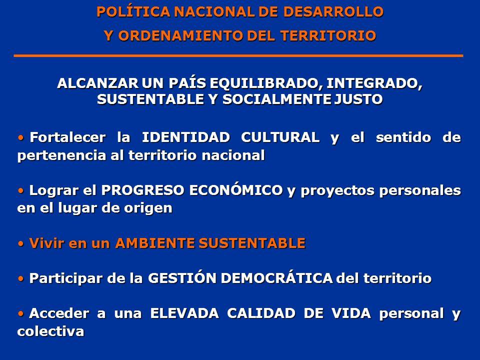 POLÍTICA NACIONAL DE DESARROLLO Y ORDENAMIENTO DEL TERRITORIO ALCANZAR UN PAÍS EQUILIBRADO, INTEGRADO, SUSTENTABLE Y SOCIALMENTE JUSTO Fortalecer la I