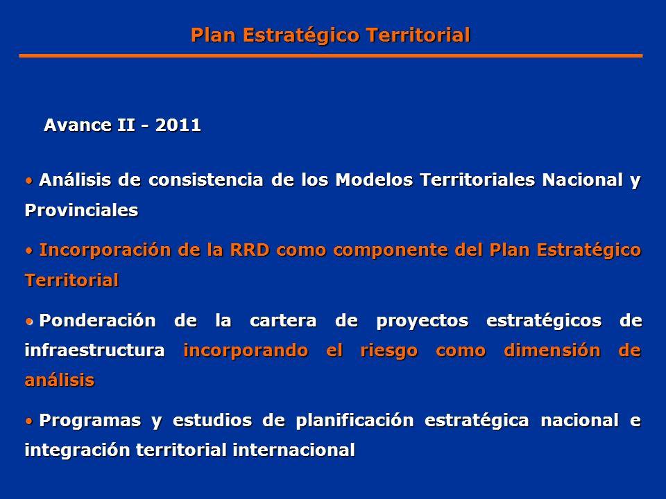 Programa Argentina Urbana (PAU) Programa Argentina Rural (PAR) Programa Nacional de Reducción del Riesgo de Desastres Estudio de Conectividad Territorial Lineamientos para el desarrollo de NEA Y NOA Ponderación de proyectos estratégicos Plan Estratégico Territorial Avance II