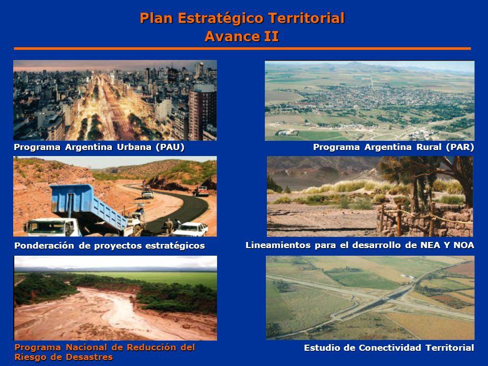 Programa Argentina Urbana (PAU) Programa Argentina Rural (PAR) Programa Nacional de Reducción del Riesgo de Desastres Estudio de Conectividad Territor