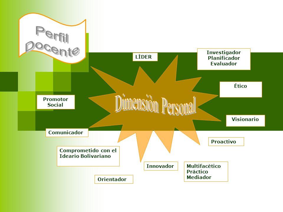 Investigador Planificador Evaluador LÌDER Ético Visionario Multifacético Práctico Mediador Proactivo Innovador Comunicador Comprometido con el Ideario
