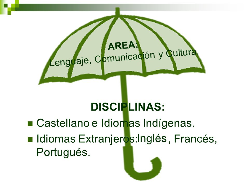 AREA: Lenguaje, Comunicación y Cultura. DISCIPLINAS: Castellano e Idiomas Indígenas. Idiomas Extranjeros:, Francés, Portugués. Inglés
