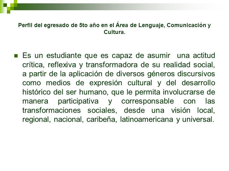 Perfil del egresado de 5to año en el Área de Lenguaje, Comunicación y Cultura. Es un estudiante que es capaz de asumir una actitud crítica, reflexiva