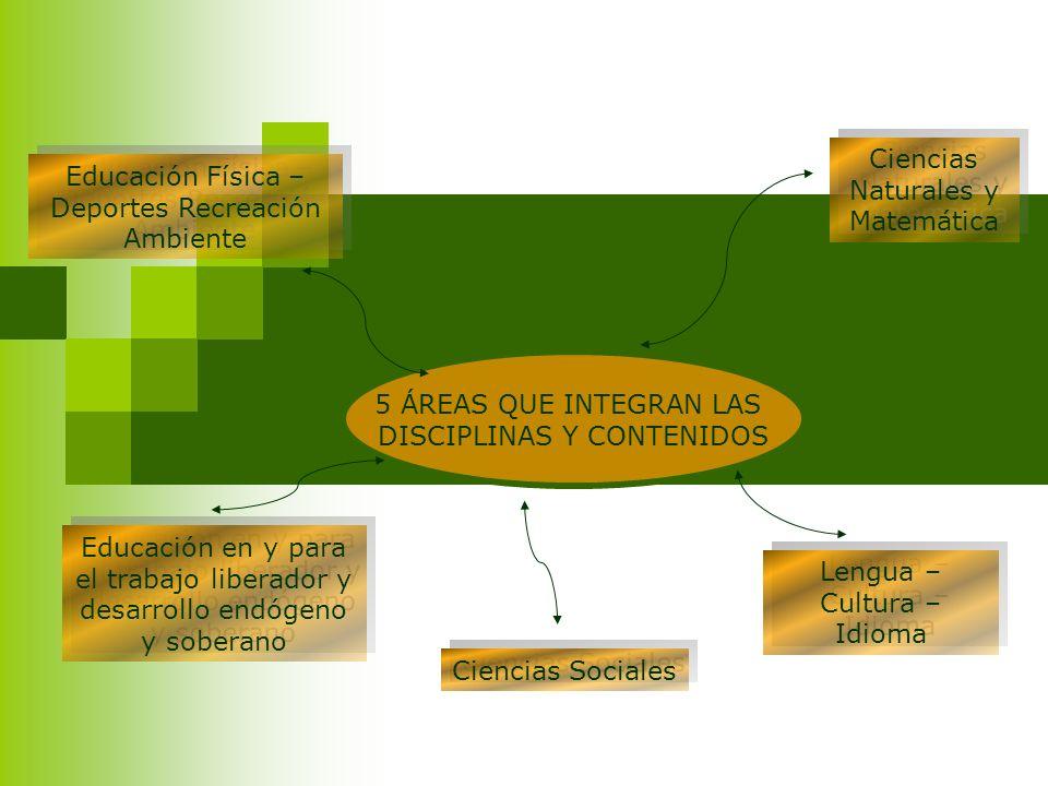 5 ÁREAS QUE INTEGRAN LAS DISCIPLINAS Y CONTENIDOS Educación Física – Deportes Recreación Ambiente Educación en y para el trabajo liberador y desarroll