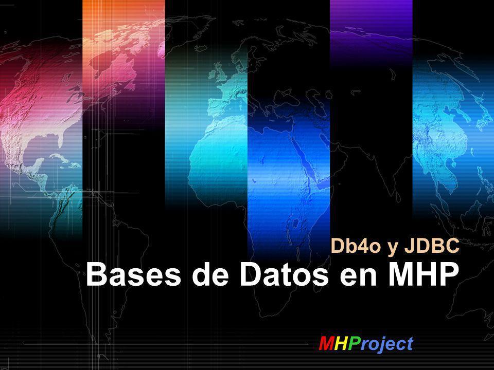 MHProject Ruegos y Preguntas Base de datos en MHP [---------- Proyecto ----------] MHProject v2.0 www.mhproject.org E.T.S de Ingenieros de Telecomunicación Universidad Pública de Navarra www.mhproject.org [---------- Autor ----------] Alejandro Fanjul fanjul.35858@e.unavarra.es afanjul@mhproject.org fanjul.35858@e.unavarra.es afanjul@mhproject.org [---------- Tutor ----------] Mikel Sagues mikel.sagues@unavarra.es mikel.sagues@unavarra.es [---------- Bibliografía ----------] Db4o.comDb4o.com: Tutorial and Presentations JDBC Implementation Reference JDBC Implementation Reference 14/12/2006 Creative Commons 2.5: MHProject.orgMHProject.org C r é d i t o s y B i b l i o g r a f í a