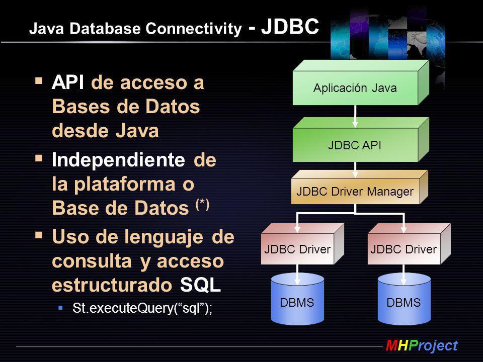 MHProject Java Database Connectivity - JDBC API de acceso a Bases de Datos desde Java Independiente de la plataforma o Base de Datos (*) Uso de lengua