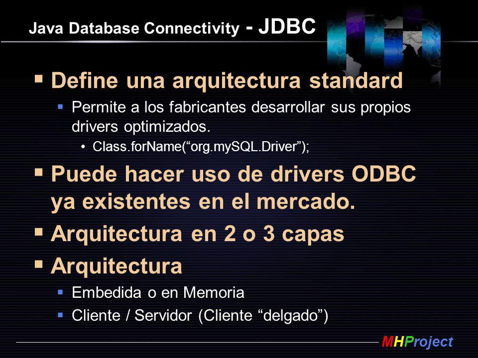 MHProject Java Database Connectivity - JDBC Define una arquitectura standard Permite a los fabricantes desarrollar sus propios drivers optimizados. Cl