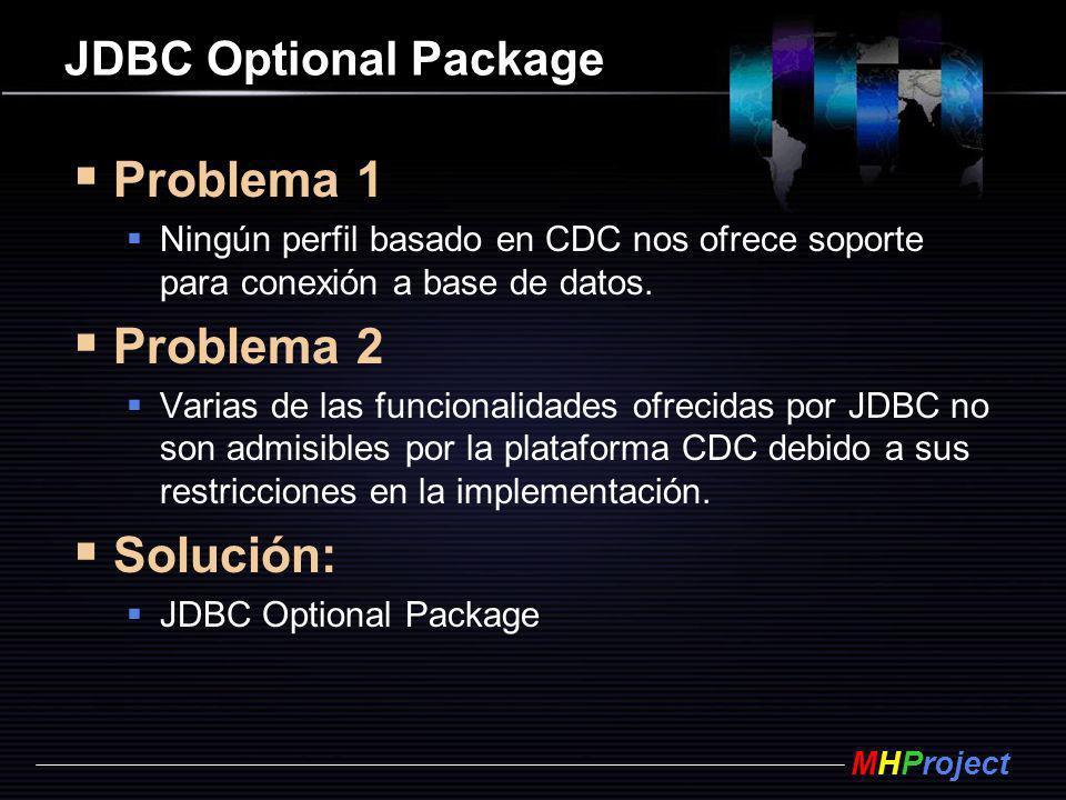 MHProject JDBC Optional Package Problema 1 Ningún perfil basado en CDC nos ofrece soporte para conexión a base de datos. Problema 2 Varias de las func