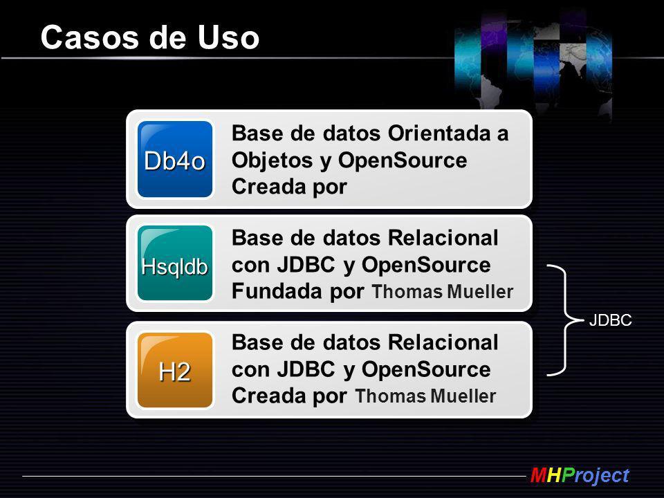 MHProject Casos de Uso Db4o Base de datos Orientada a Objetos y OpenSource Creada por Hsqldb Base de datos Relacional con JDBC y OpenSource Fundada po