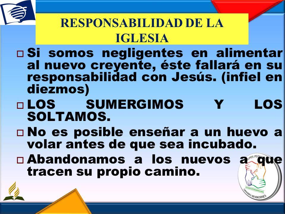 RESPONSABILIDAD DE LA IGLESIA Si somos negligentes en alimentar al nuevo creyente, éste fallará en su responsabilidad con Jesús. (infiel en diezmos) L