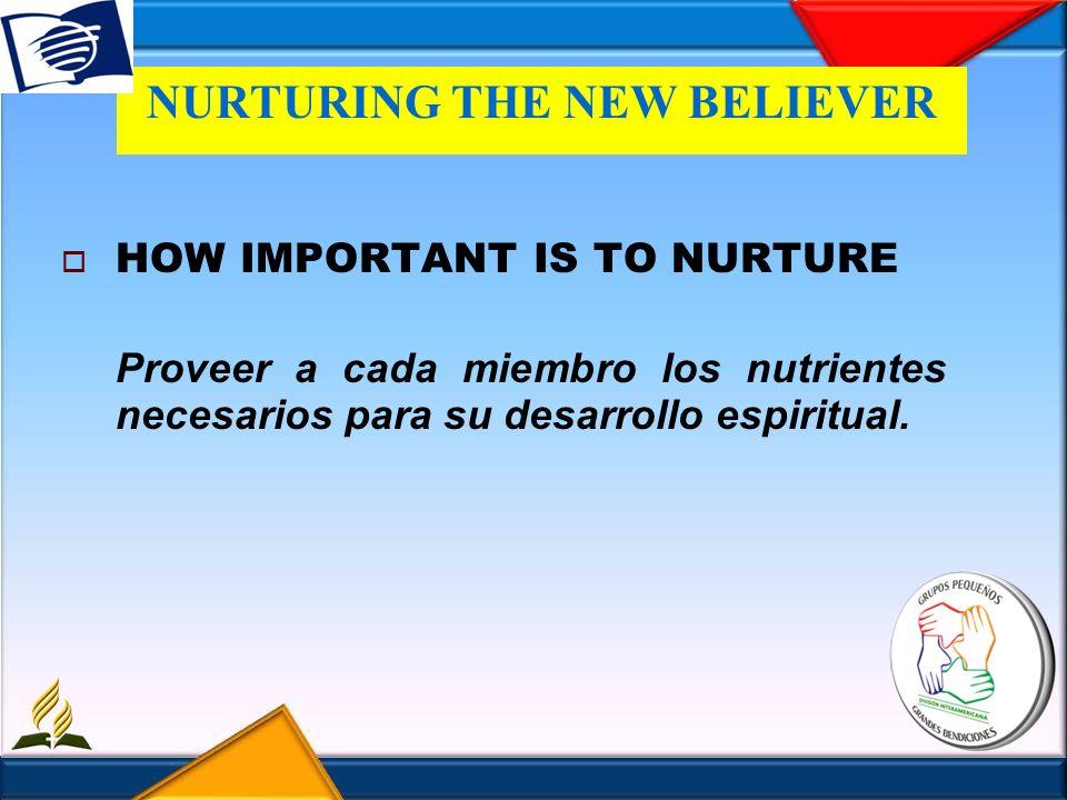 NURTURING THE NEW BELIEVER HOW IMPORTANT IS TO NURTURE Proveer a cada miembro los nutrientes necesarios para su desarrollo espiritual.