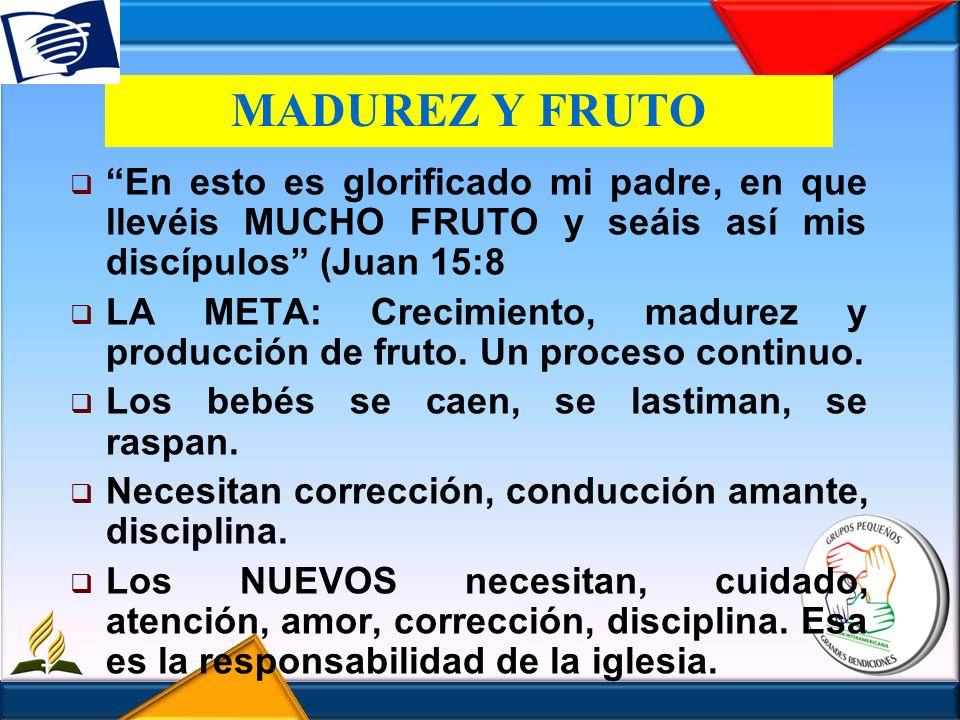 MADUREZ Y FRUTO En esto es glorificado mi padre, en que llevéis MUCHO FRUTO y seáis así mis discípulos (Juan 15:8 LA META: Crecimiento, madurez y prod