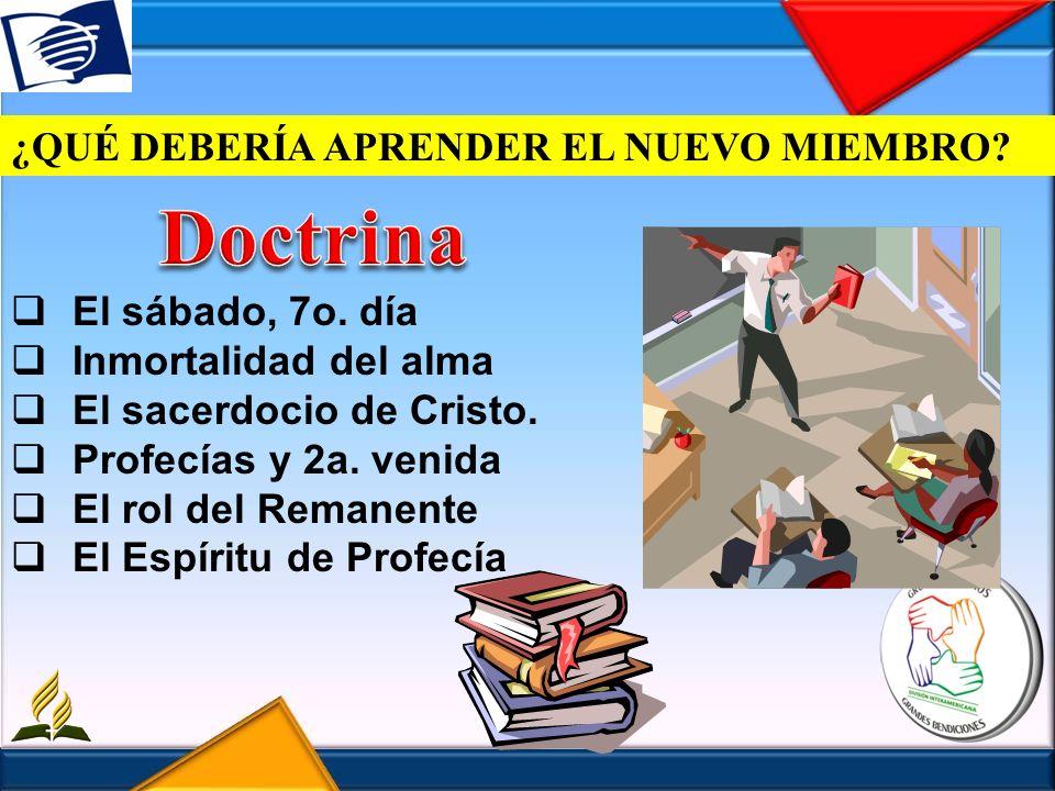 ¿QUÉ DEBERÍA APRENDER EL NUEVO MIEMBRO? El sábado, 7o. día Inmortalidad del alma El sacerdocio de Cristo. Profecías y 2a. venida El rol del Remanente