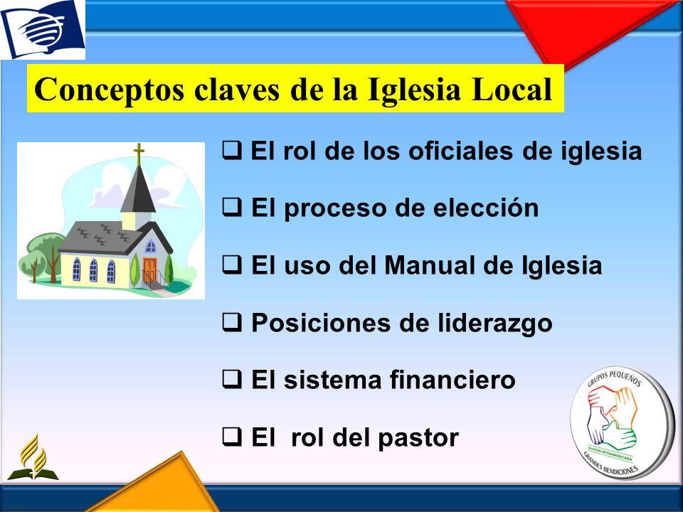 El rol de los oficiales de iglesia El proceso de elección El uso del Manual de Iglesia Posiciones de liderazgo El sistema financiero El rol del pastor