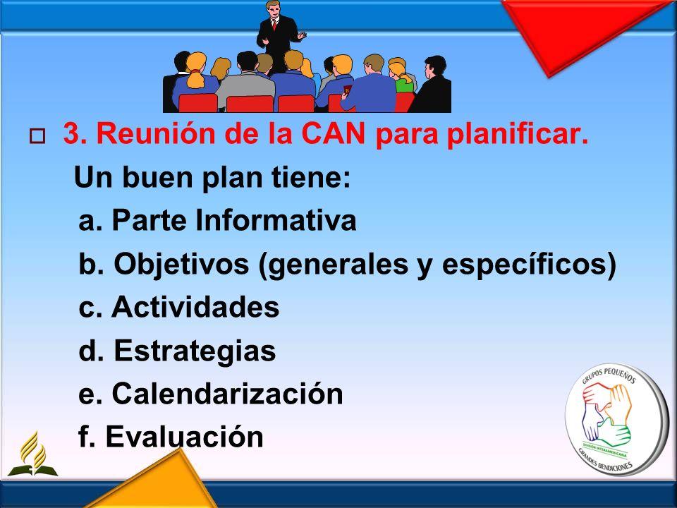 3. Reunión de la CAN para planificar. Un buen plan tiene: a. Parte Informativa b. Objetivos (generales y específicos) c. Actividades d. Estrategias e.