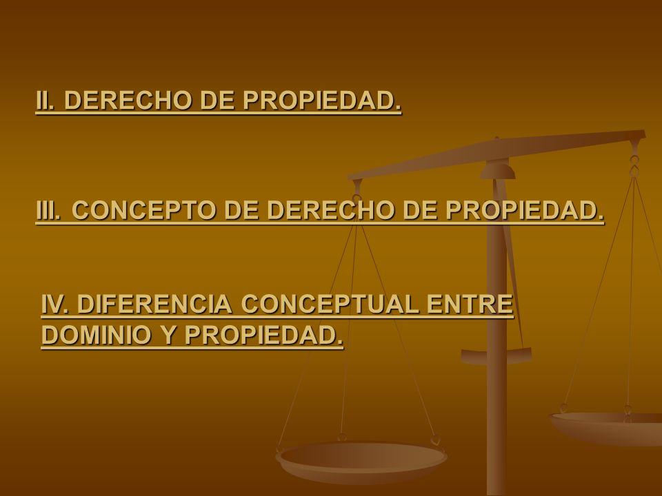 II. DERECHO DE PROPIEDAD. III. CONCEPTO DE DERECHO DE PROPIEDAD. IV. DIFERENCIA CONCEPTUAL ENTRE DOMINIO Y PROPIEDAD.
