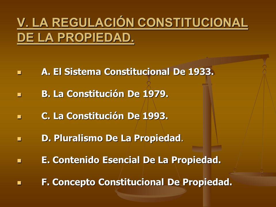 V. LA REGULACIÓN CONSTITUCIONAL DE LA PROPIEDAD. A. El Sistema Constitucional De 1933. A. El Sistema Constitucional De 1933. B. La Constitución De 197