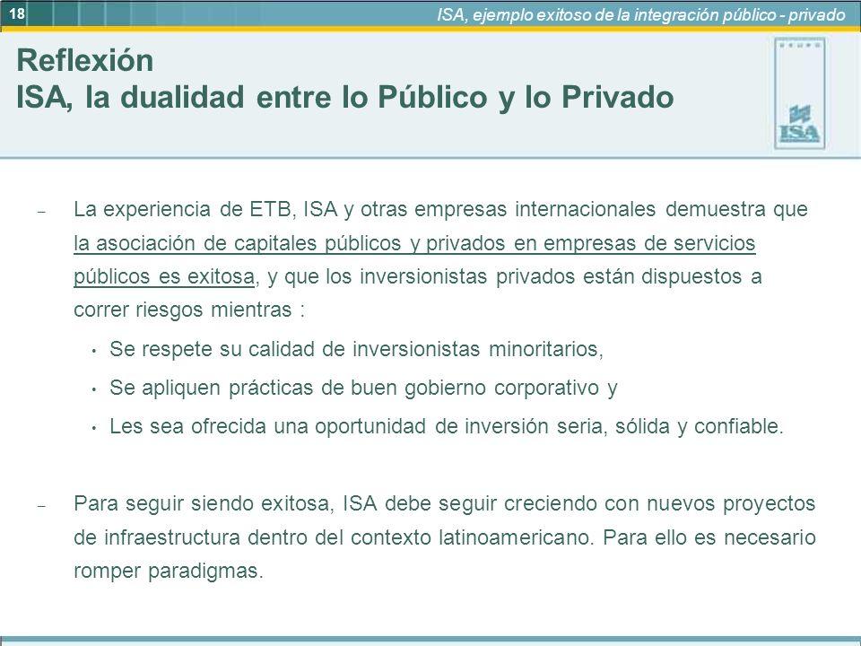 18 ISA, ejemplo exitoso de la integración público - privado – La experiencia de ETB, ISA y otras empresas internacionales demuestra que la asociación