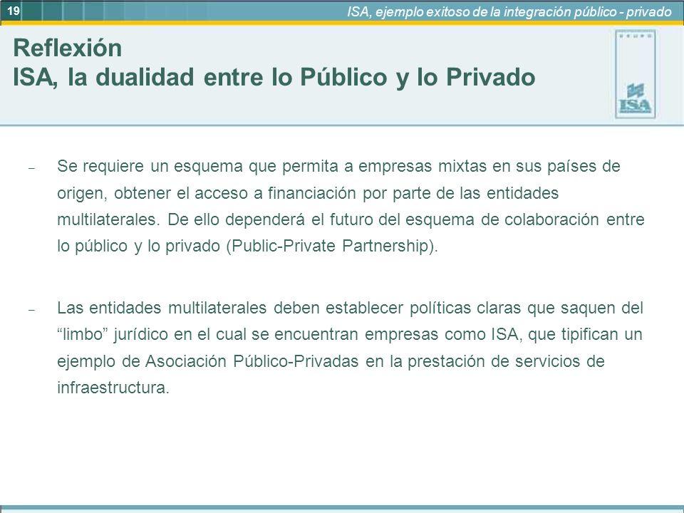 19 ISA, ejemplo exitoso de la integración público - privado – Se requiere un esquema que permita a empresas mixtas en sus países de origen, obtener el