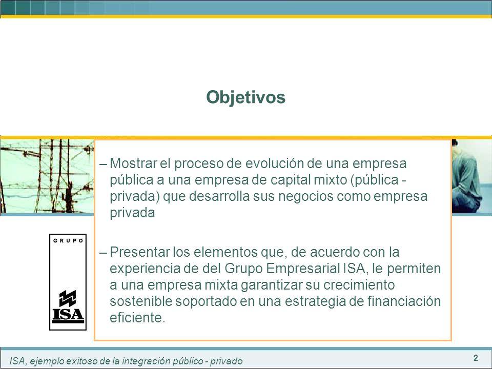 3 ISA, ejemplo exitoso de la integración público - privado 19972005...19992004200320022001200019981967-199419961995 0%Priv 100%Pub ISA nace con capital 100% público Composición accionaria - 1967 - EEB 25.0% EPM 25.0% CVC24.5% ELECTRAGUAS 24.5% CHIDRAL 0.5% CHEC 0.5% En 1967 nace Interconexión Eléctrica S.A.