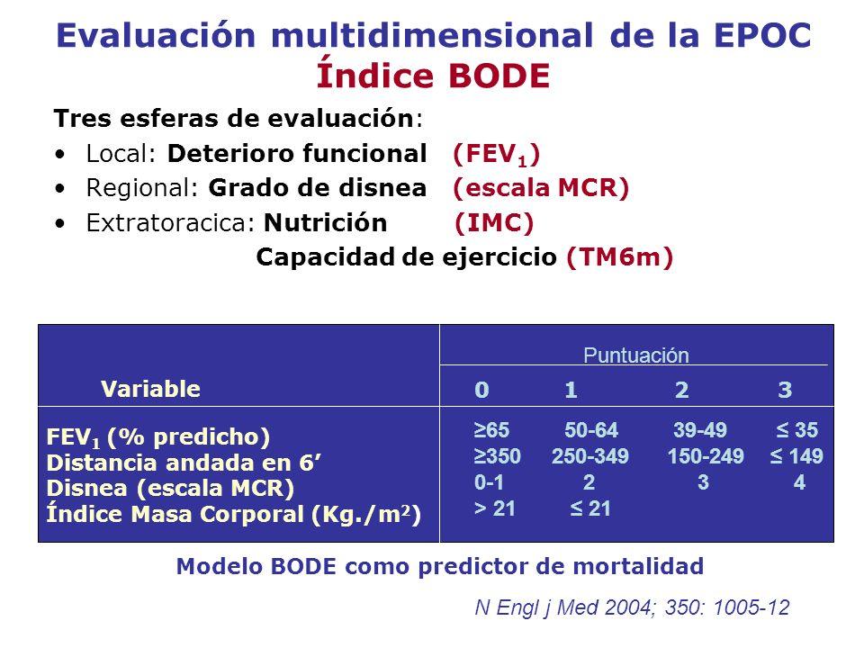 Evaluación multidimensional de la EPOC Índice BODE Tres esferas de evaluación: Local: Deterioro funcional (FEV 1 ) Regional: Grado de disnea (escala M