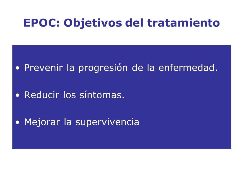 EPOC: Objetivos del tratamiento Prevenir la progresión de la enfermedad. Reducir los síntomas. Mejorar la supervivencia