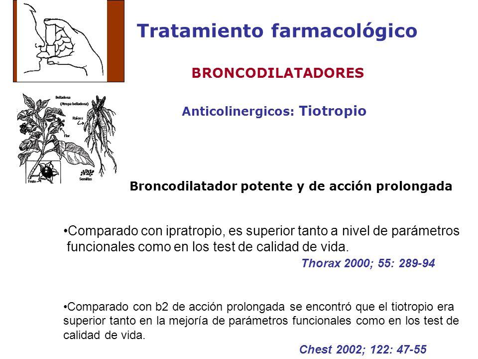 Tratamiento farmacológico Anticolinergicos: Tiotropio BRONCODILATADORES Broncodilatador potente y de acción prolongada Comparado con ipratropio, es su