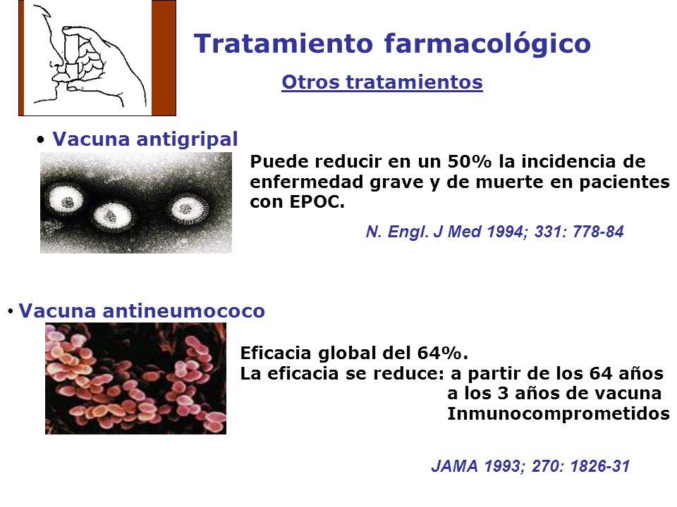 Tratamiento farmacológico Otros tratamientos Vacuna antigripal Vacuna antineumococo Puede reducir en un 50% la incidencia de enfermedad grave y de mue